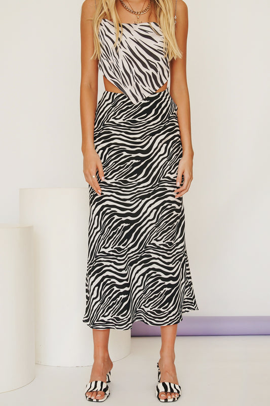 Italian Collection Bias Cut Midi Skirt // Zebra
