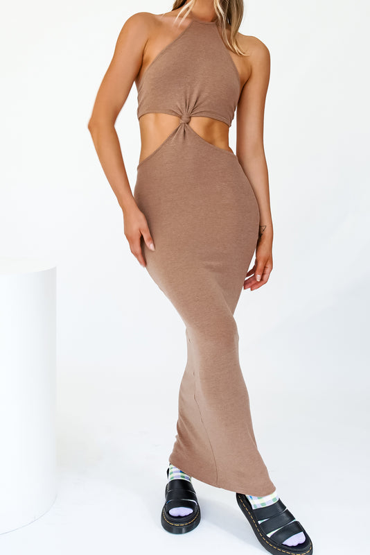 New Season Halter Maxi Dress // Mocha