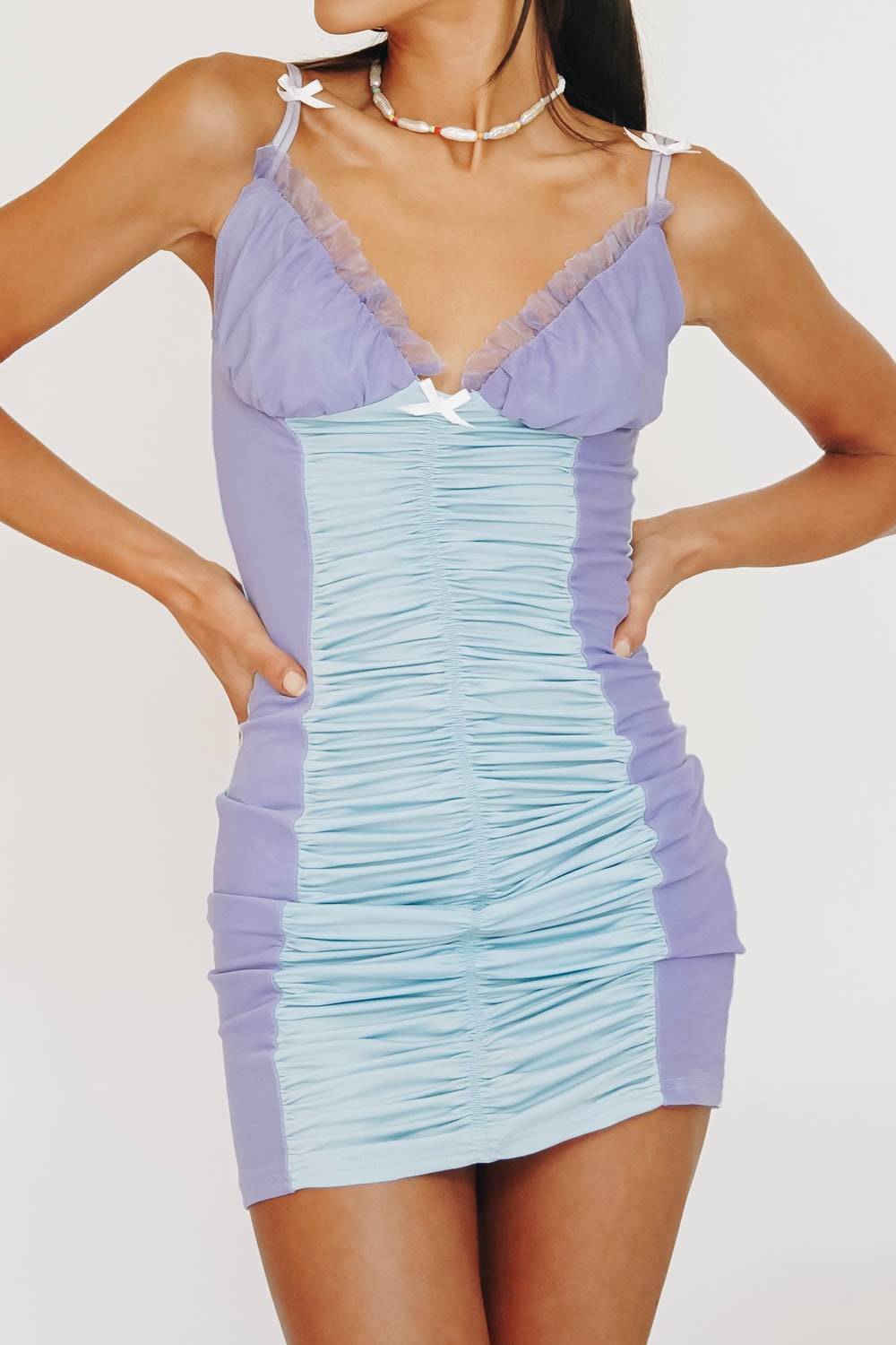 BABY Mesh Ruched Mini Dress // Sky