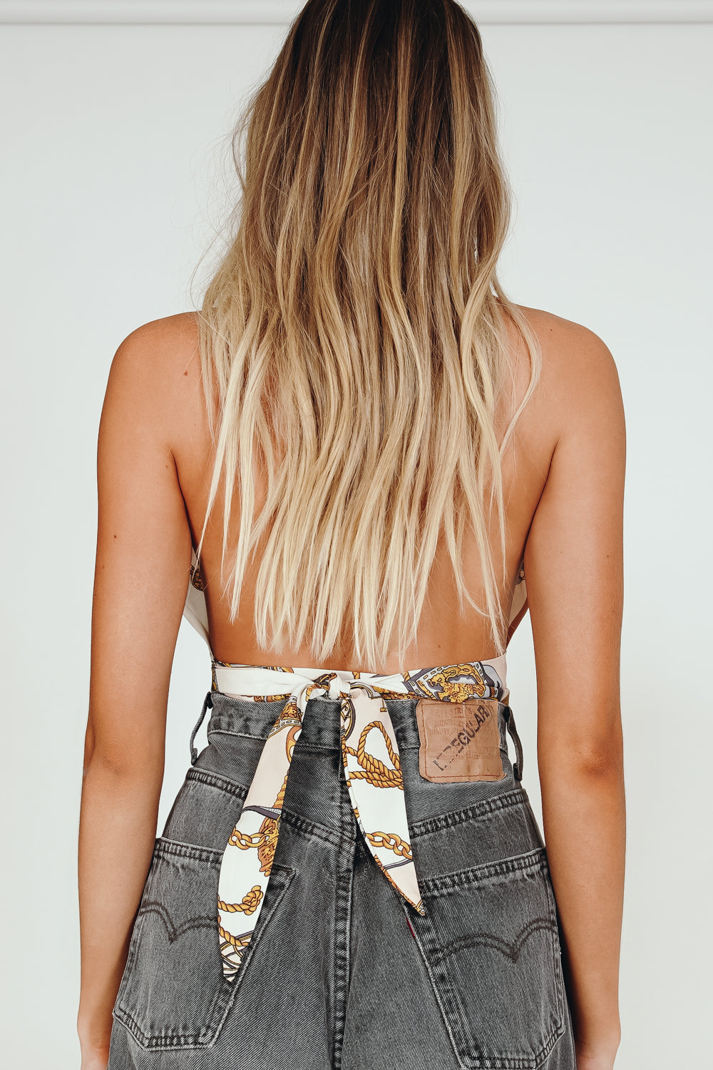 French Riviera Tie Back Halter Top // Print