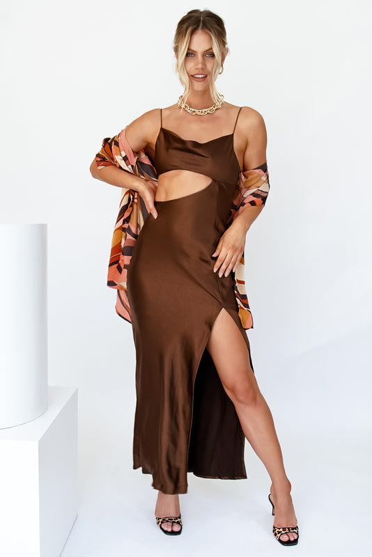 Night Before Bias Cut Maxi Dress // Chocolate