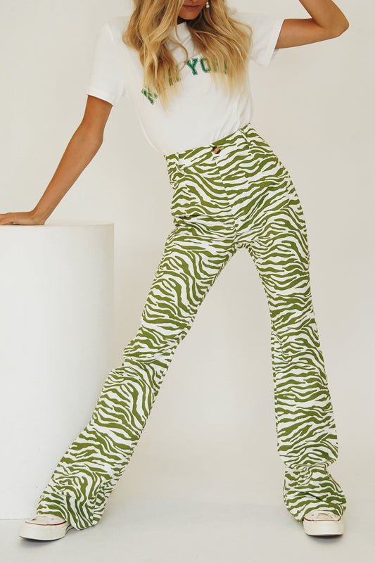 VRG GRL Hollywood Series Zebra Pants // Green