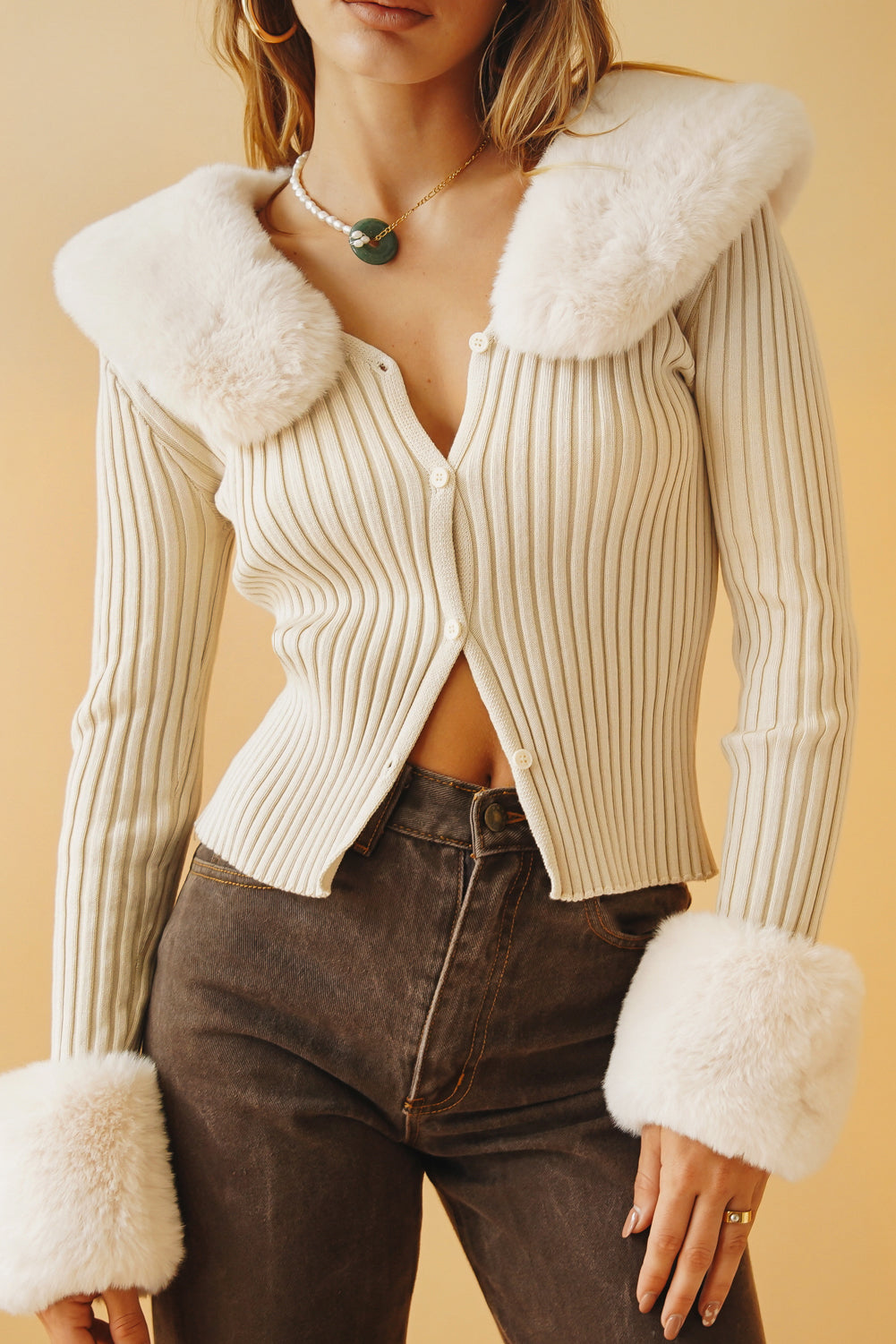 Pure Moment Button Front Knit Top // Cream