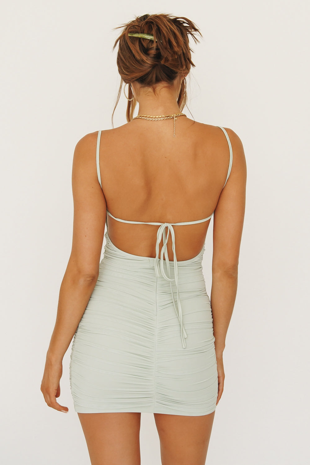 Lola Tie Back Ruched Mini Dress // Sage