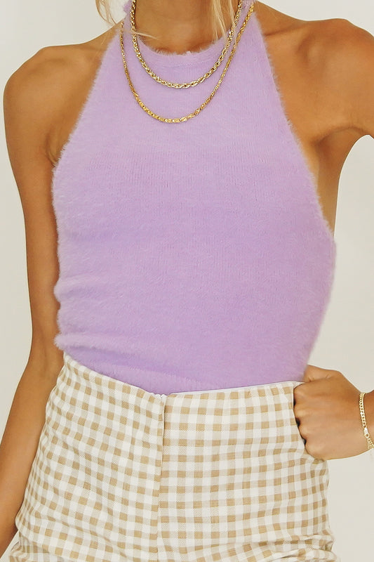 Be My Baby Halter Knit Top // Lilac