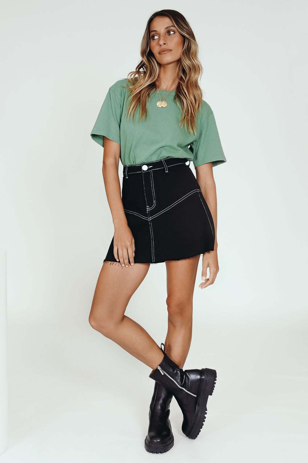 VRG GRL Sun Seeker Denim Mini Skirt // Black