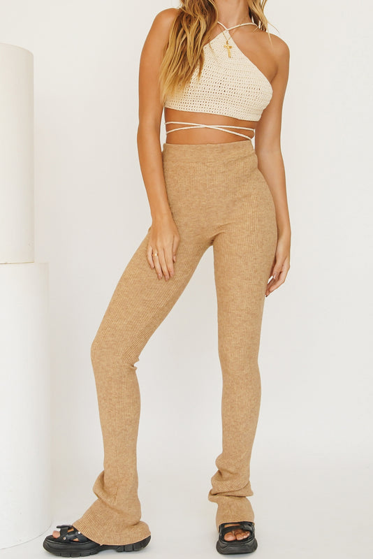 Fit For Purpose Ribbed Knit Pants // Beige