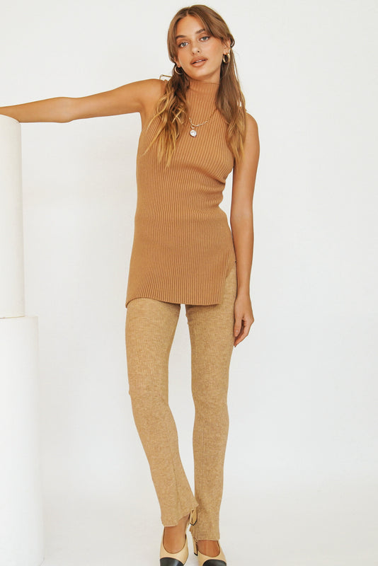 On Track Ribbed Knit Tunic // Tan