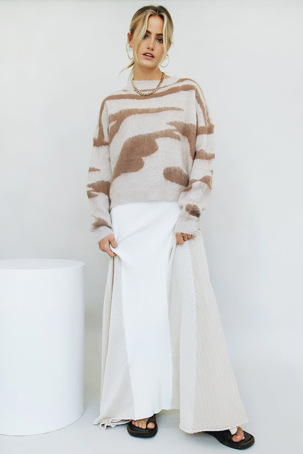 VG Watch The Runway Ribbed Midi Skirt // White