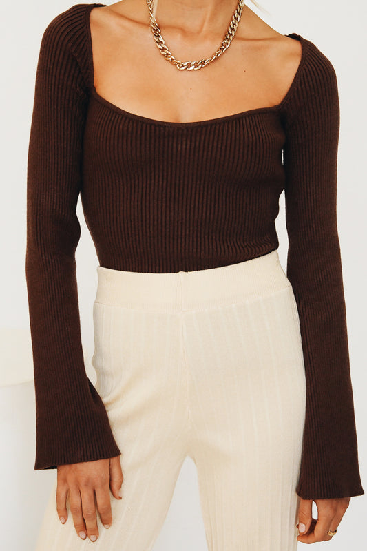 VRG GRL New Fashion Ribbed Knit Top // Chocolate