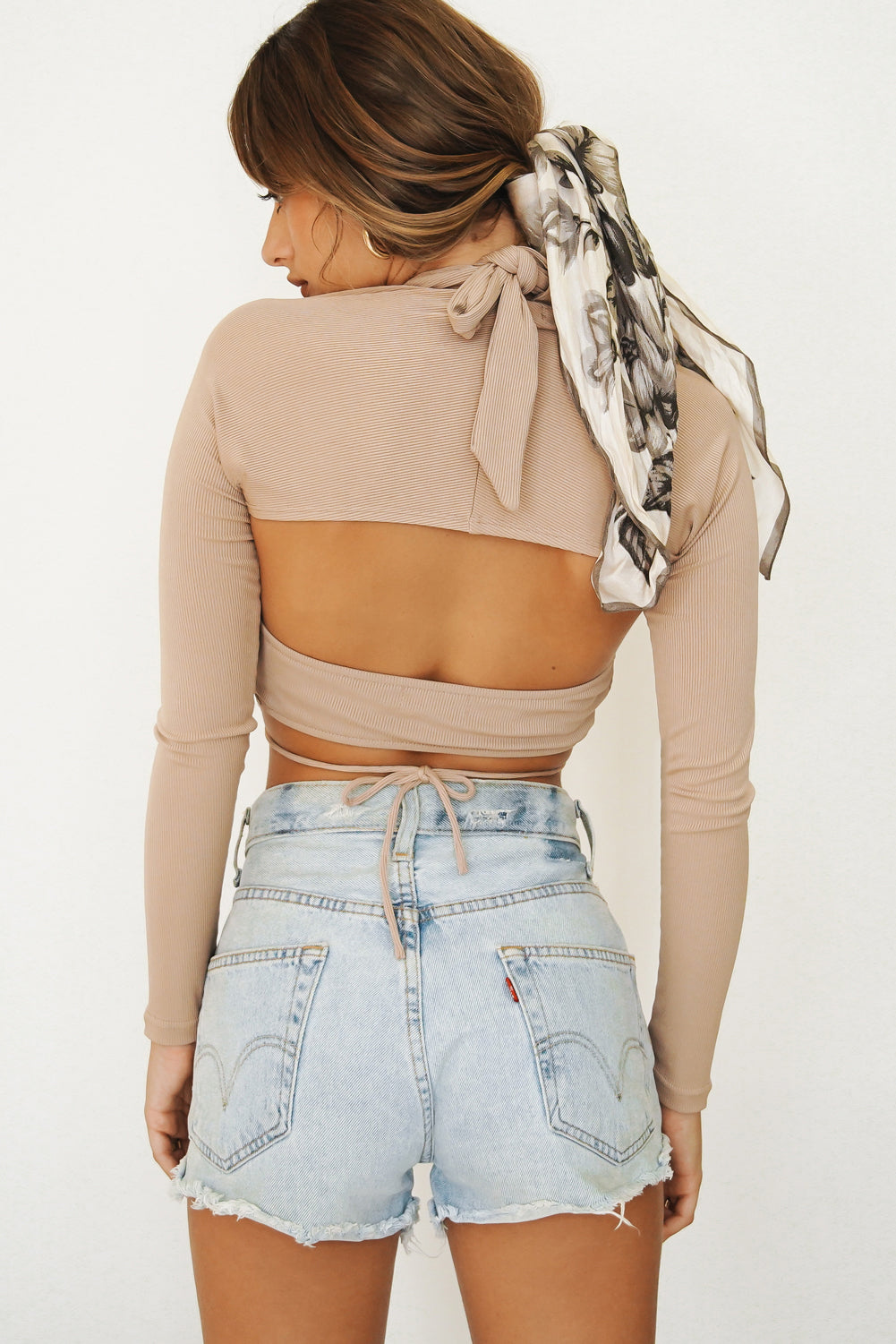 Need To Know Tie Up Halter Set // Taupe
