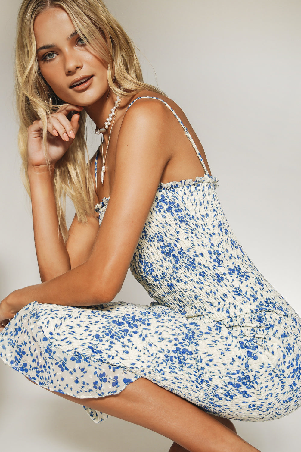 Day Dream Shirred Midi Dress // Floral
