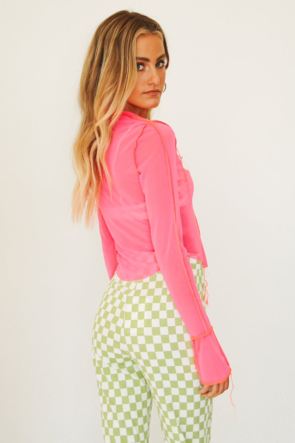 Go Bold Mesh Top // Pink