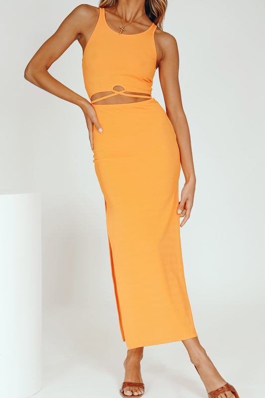 Iconic Moment Ribbed Midi Dress // Tangerine