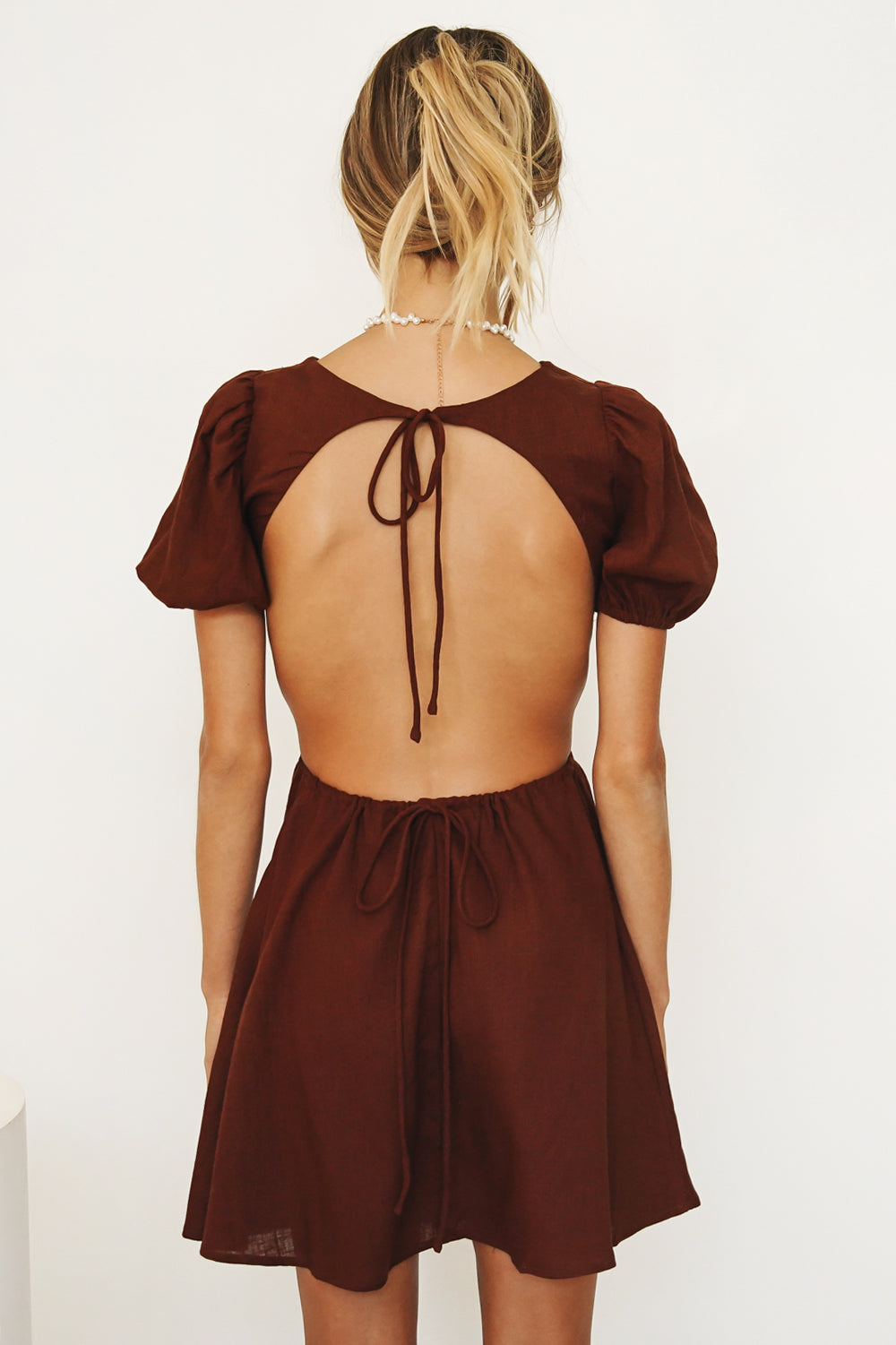 Les Fontaines Tie Back Mini Dress // Chocolate
