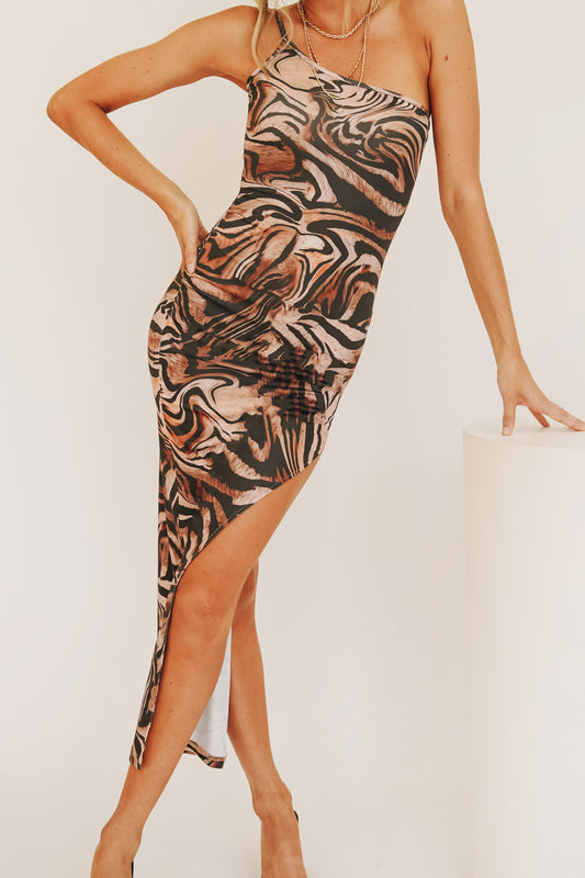 Through The Motions One-Shoulder Midi Dress // Animal