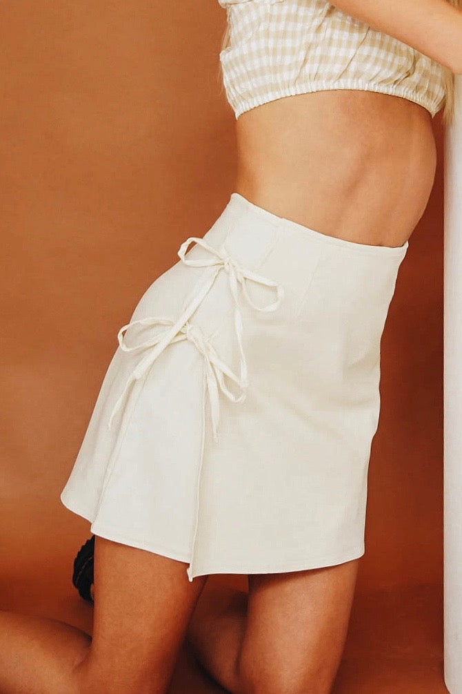 VRG GRL For The Night Tie Mini Skirt // Natural