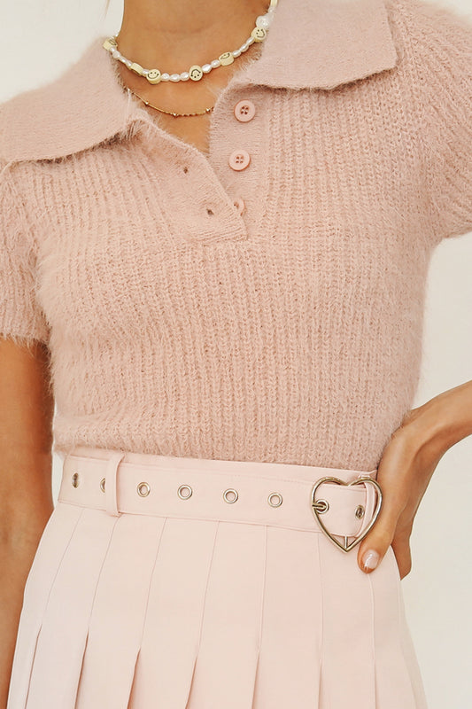 Talk It Out Knit Top // Baby Pink