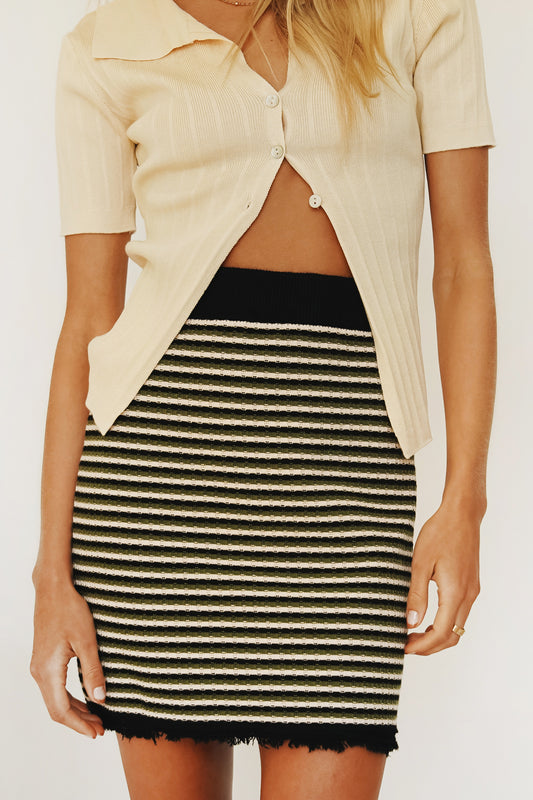 Watch The Runway Knit Mini Skirt // Stripe