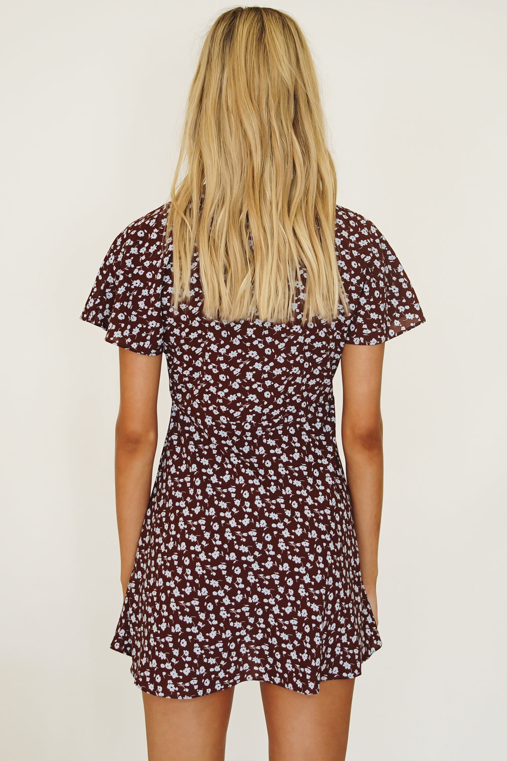 VRG GRL Edge Of Romance Floral Mini Dress // Chocolate