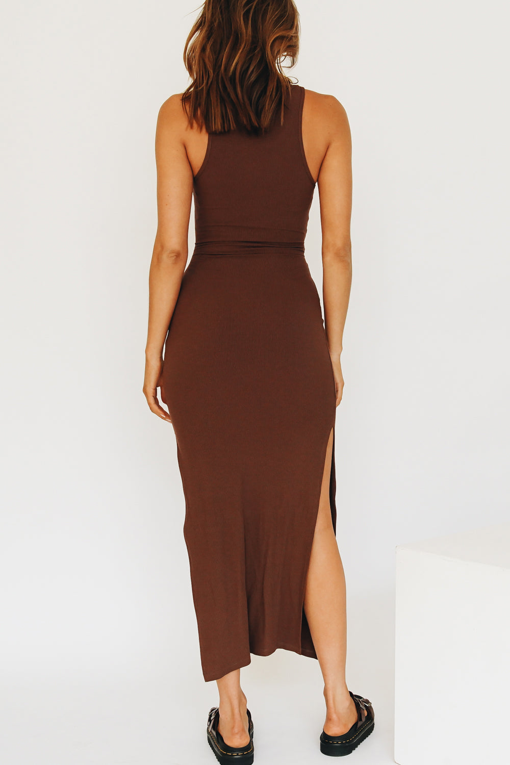Iconic Moment Ribbed Midi Dress // Chocolate