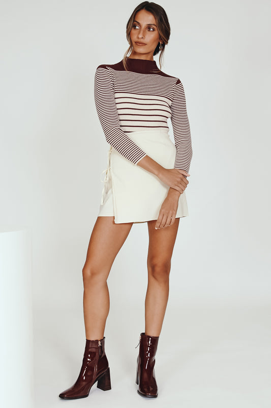 Full Scope Ribbed Knit Top // Chocolate