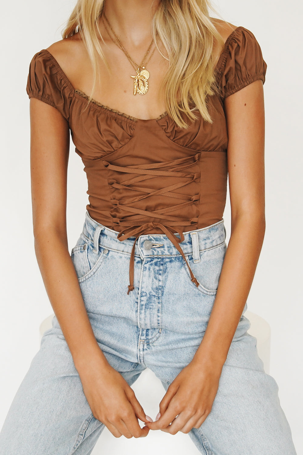 Books & Wine Lace Up Top // Brown