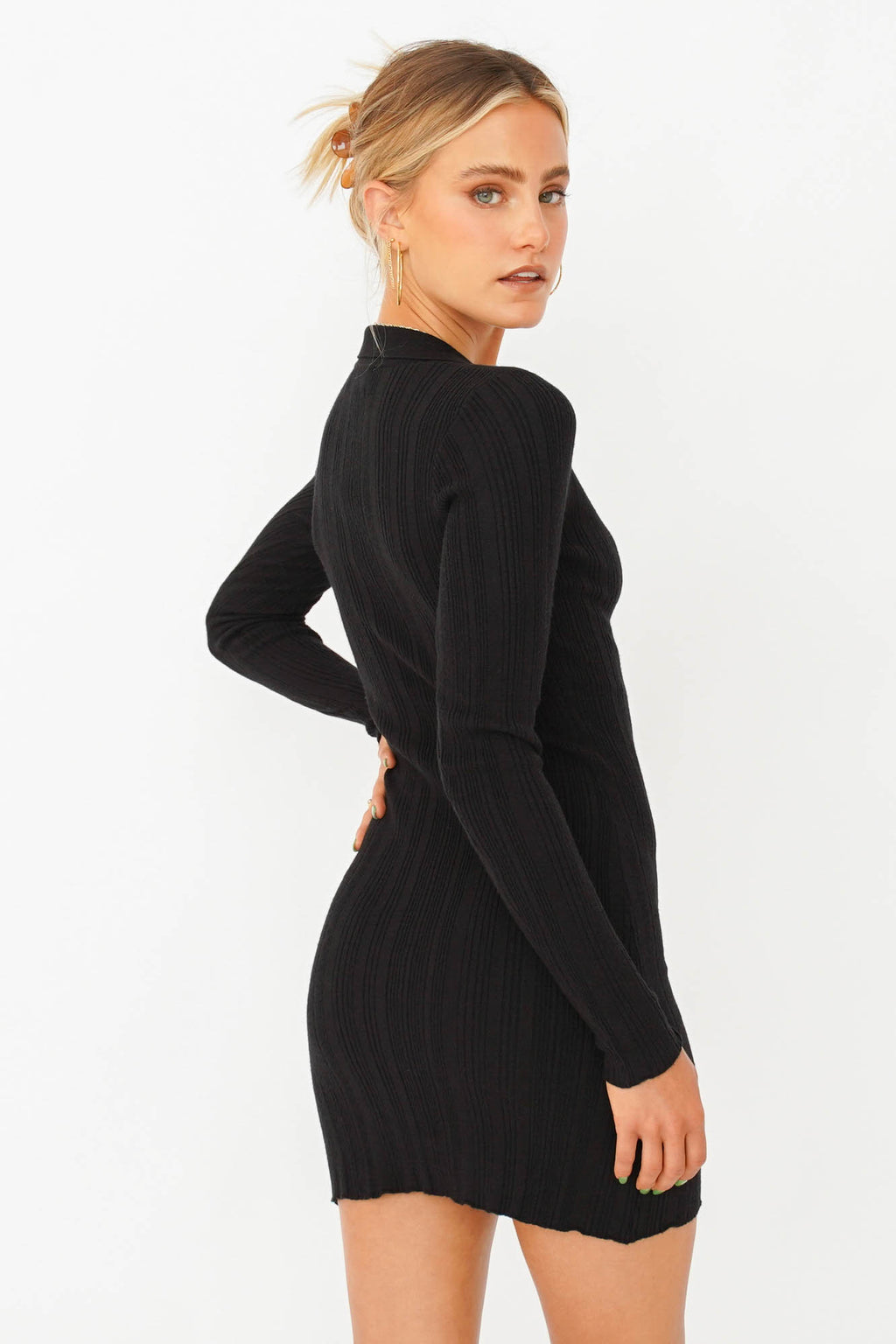 All She Wants Button Front Knit Top // Black