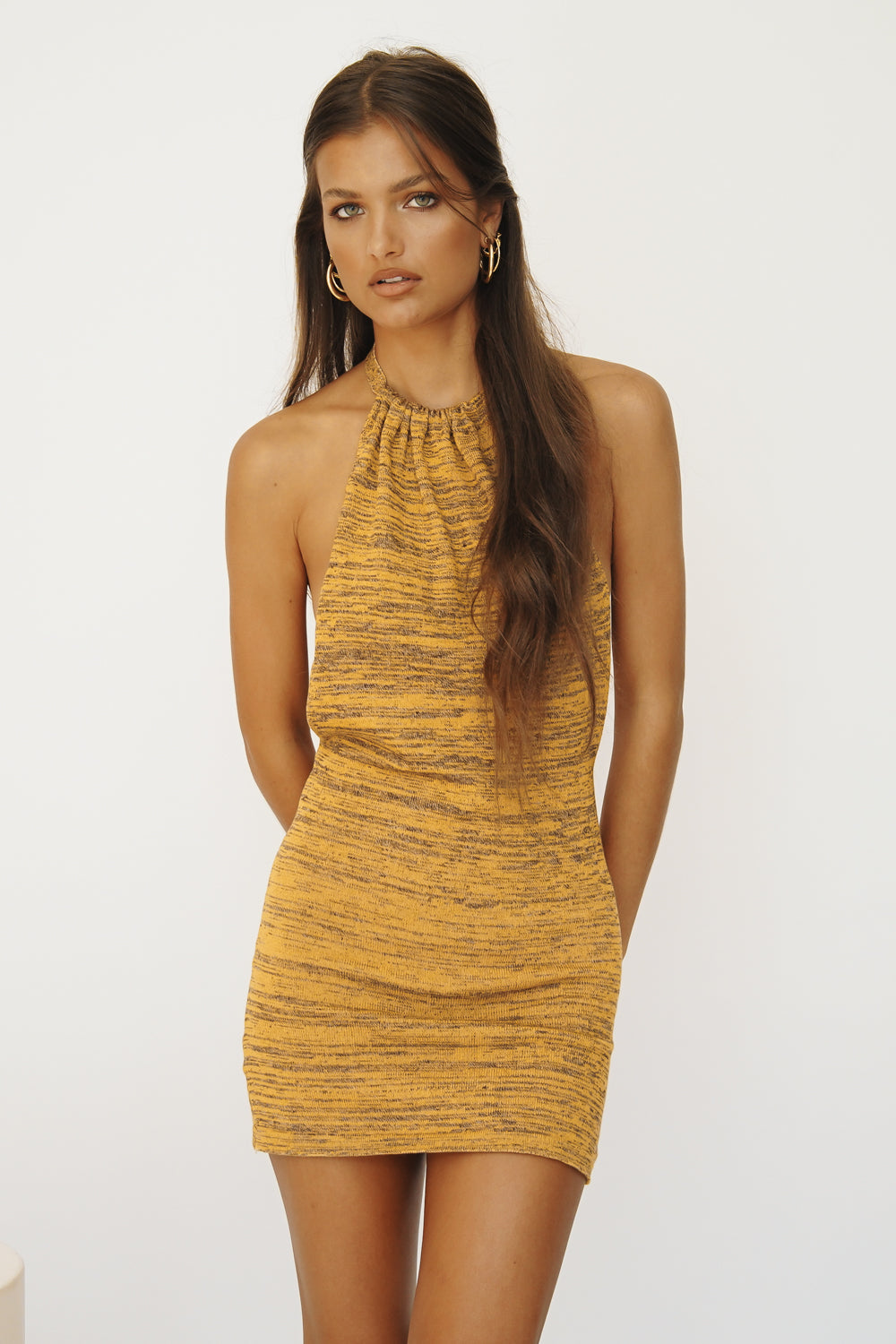 Beach House Backless Knit Mini Dress // Mustard