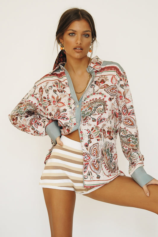 French Love Button Front Shirt // Paisley