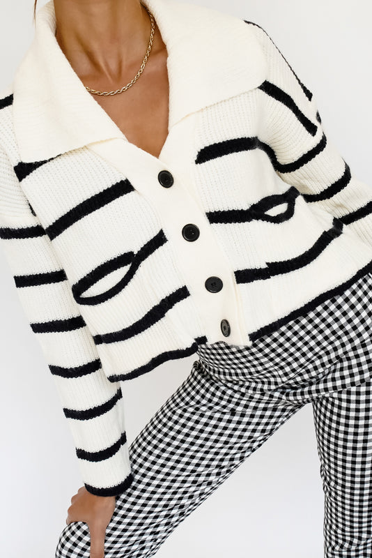 Right Now Button Front Knit Cardigan // Stripe
