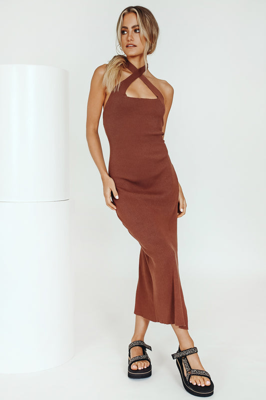 The Insider Ribbed Knit Midi Dress // Chocolate