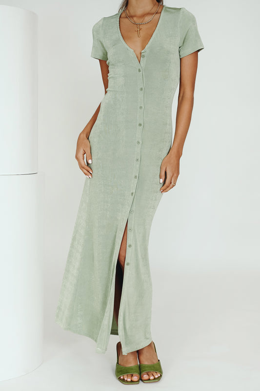 Take Us Somewhere Button Front Midi Dress // Sage