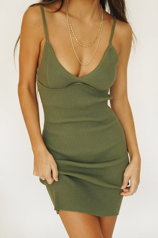 Behind The Scenes Ribbed Knit Mini Dress // Khaki