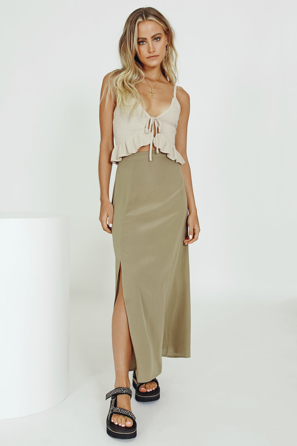 VRG GRL French Diary Midi Skirt // Olive