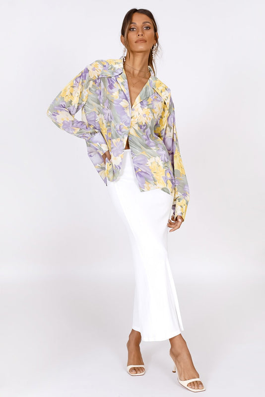 In A Dream Button Front Shirt // Floral