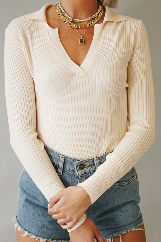 This City Ribbed Knit Top // Nude