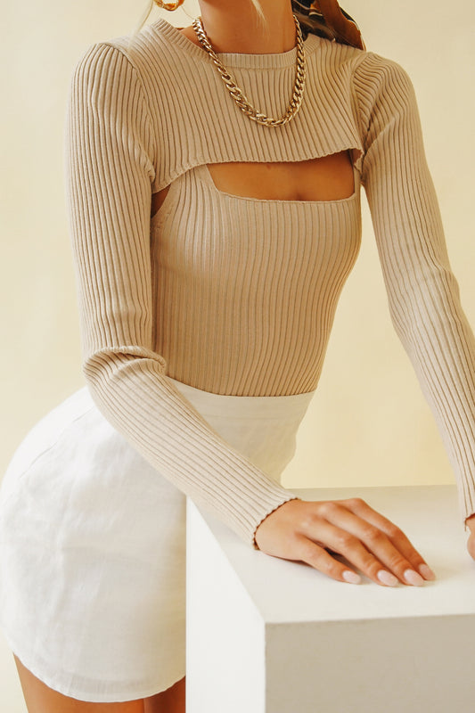 The Brave Ribbed Knit Top // Taupe