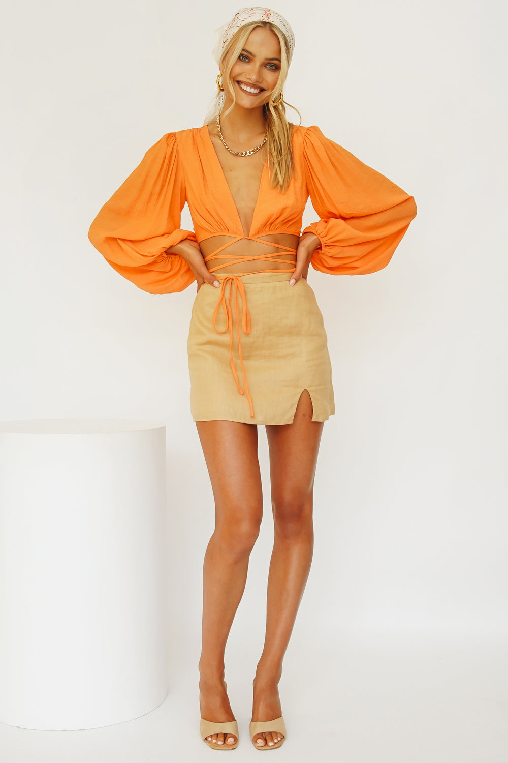 Feels Like A Holiday Tie Top // Orange