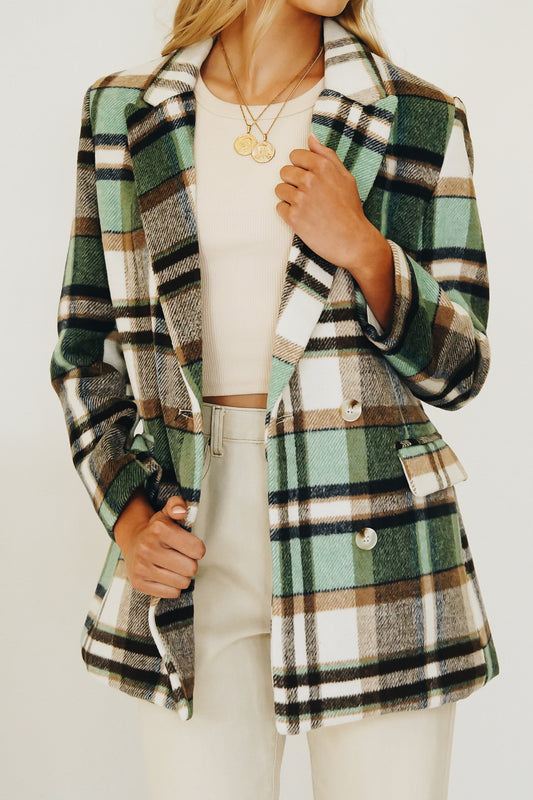 Westside Girls Check Jacket // Mint