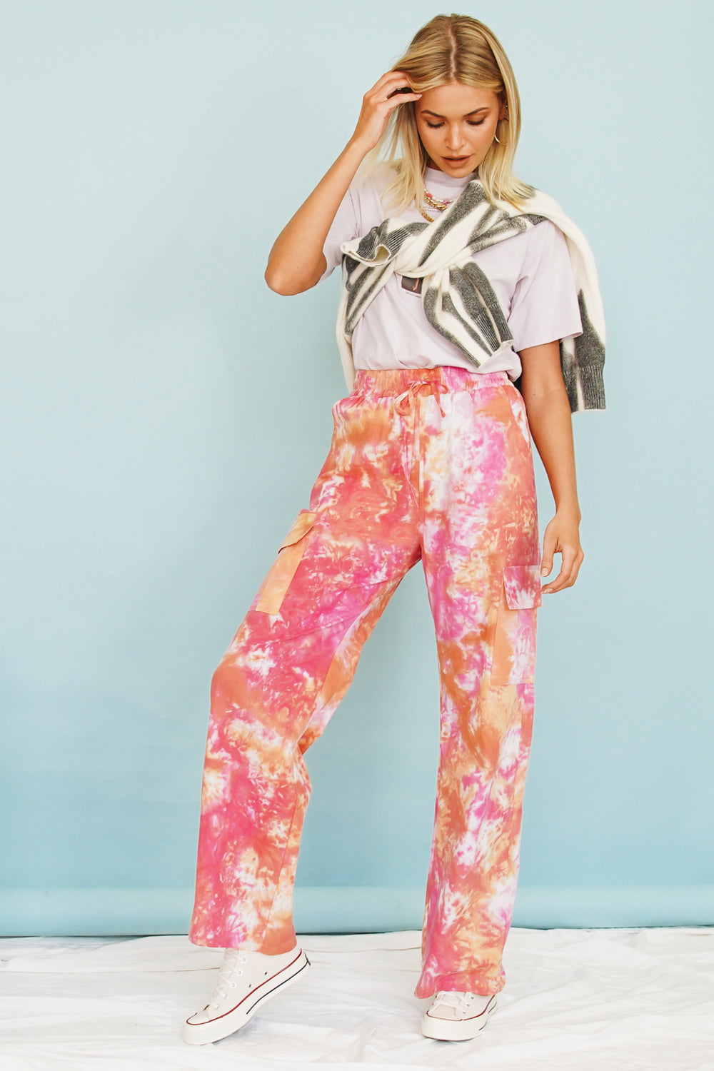 VRG GRL You've Got It Tie Dye Pants // Pink