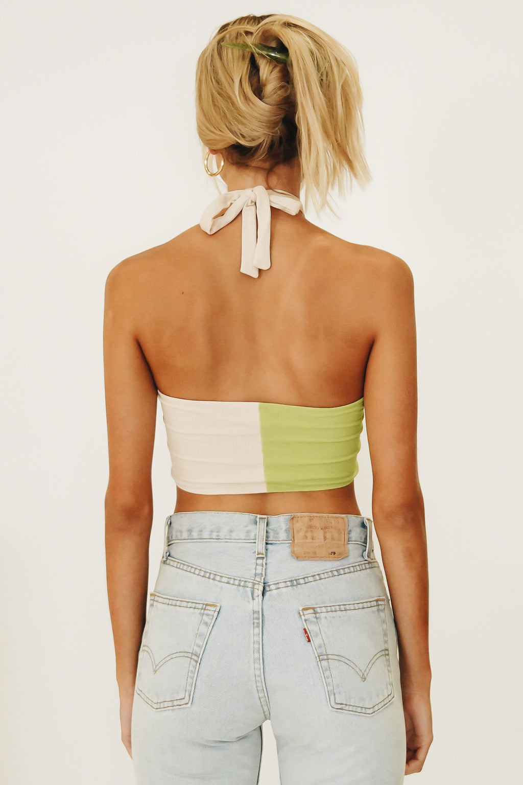 Cocktails All Night Ribbed Crop // Lime