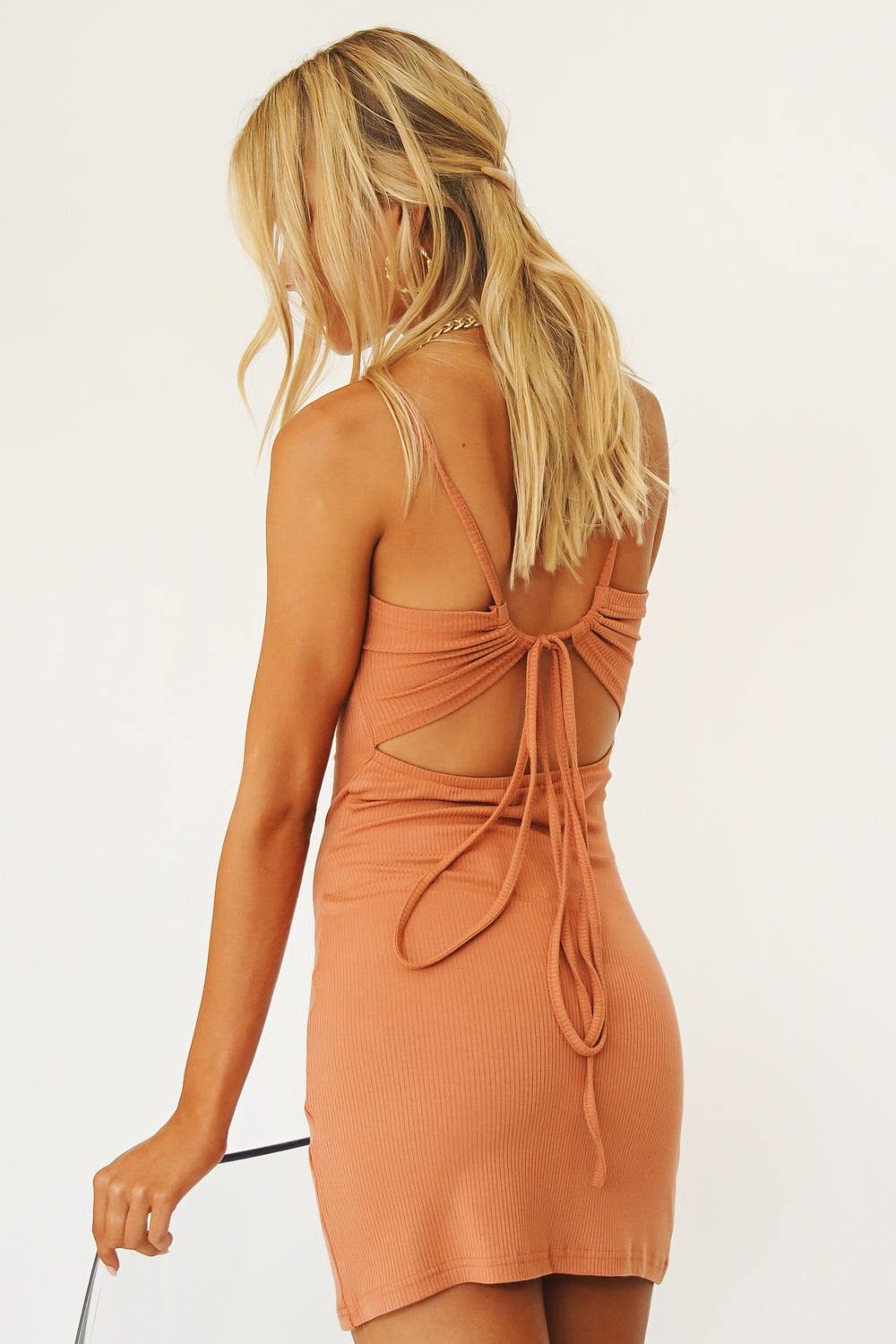 Shady Palms Ribbed Mini Dress // Rust