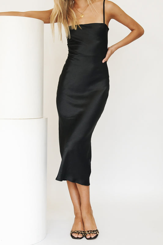 Runway Ready Bias Cut Midi Dress // Black