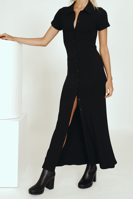 Sipping Cocktails Tie Back Midi Dress // Black
