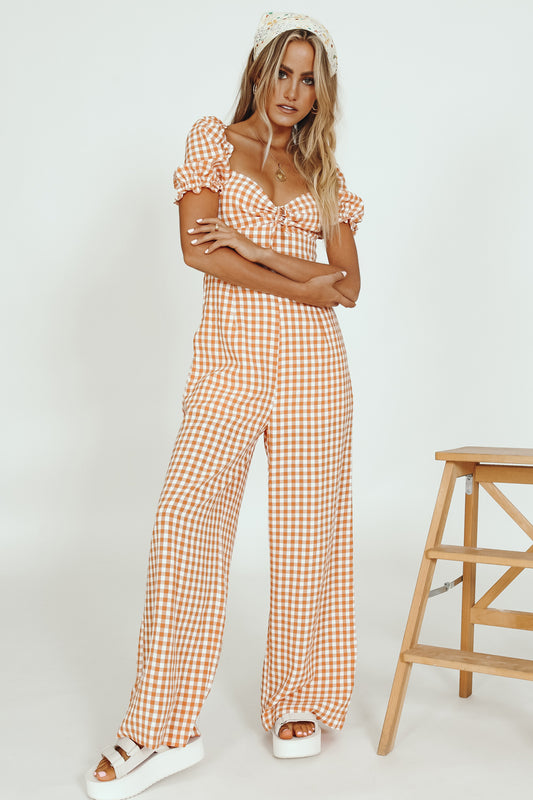 Parisian Picnics Check Jumpsuit // Orange