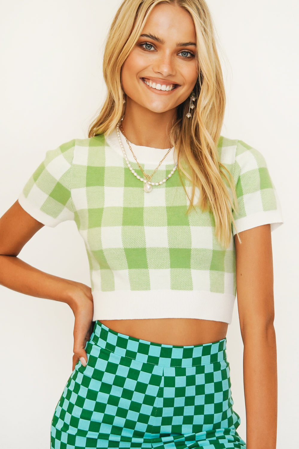 West Coast Check Knit Top // Lime