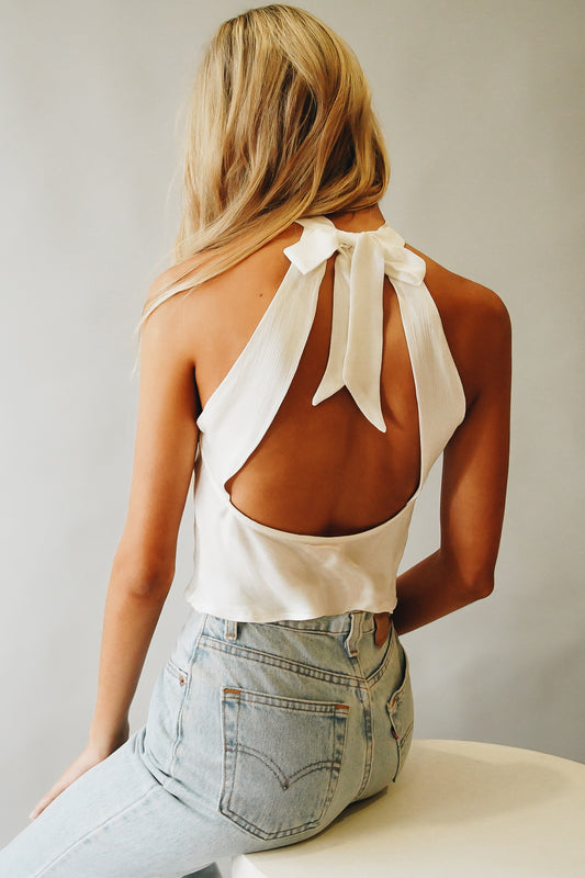 VRG GRL Mirror Image Tie Back Top // White