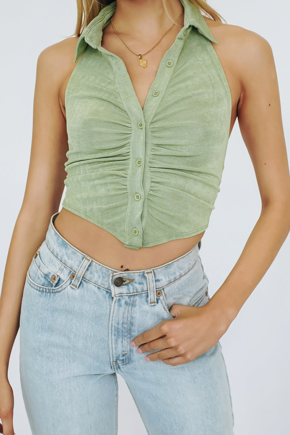By Morning Button Front Knit Top // Sage