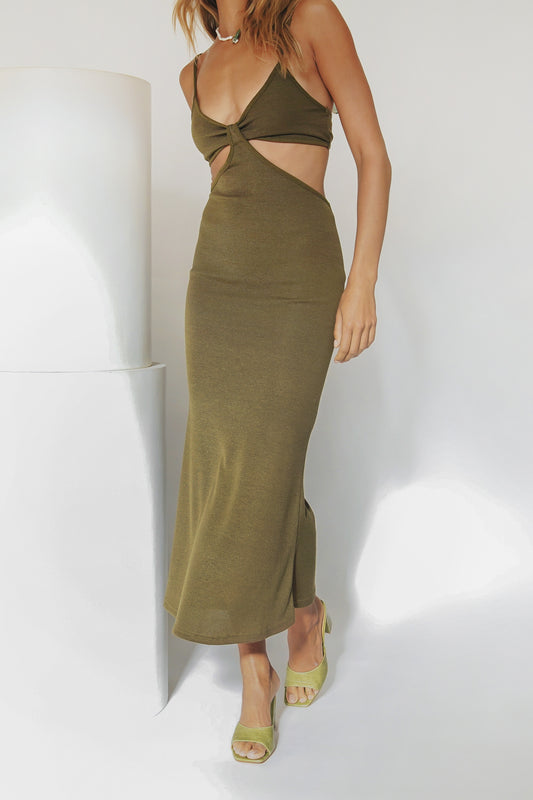 Moments Of Royalty Knit Midi Dress // Khaki